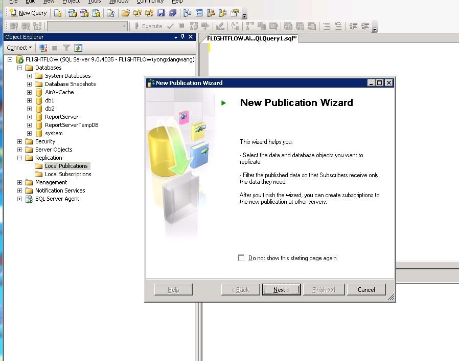 SQL Server 2005通过订阅发布同步数据库