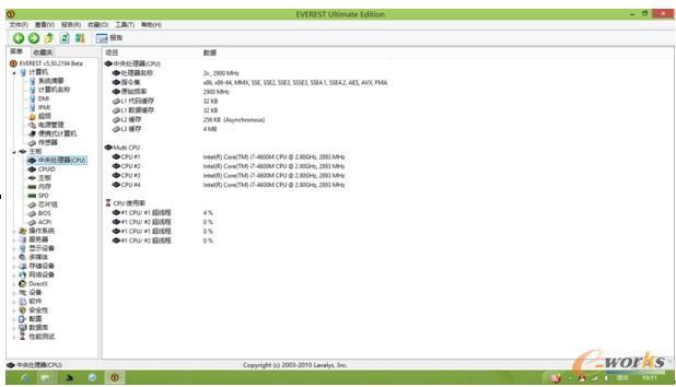 图1 Everest软件CPU测试