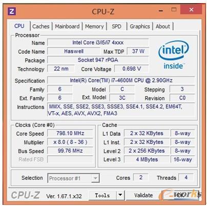 图3 CPU-Z软件CPU测试