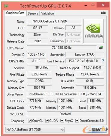 图8 NVIDIA GeForce GT 720M显卡测试信息