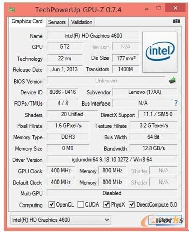 图6 HD Graphics 4600测试信息