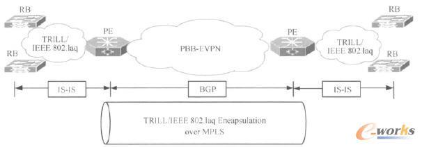 PBB E-VPN与TRILL/IEEE802.1aq网络的无缝连接示意
