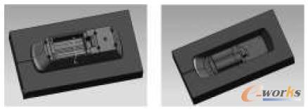 分型后的整体嵌入式型芯和型腔