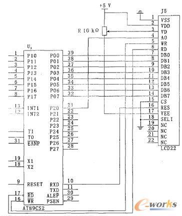 AT89C51 单片机与LMBGA_032_49CK模块的接口电路