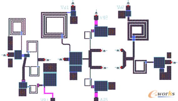 图7 宽带MMIC:不包含HFET器件和外键合引线的电路版图
