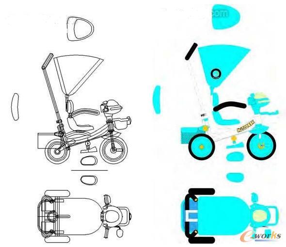 AutoCAD绘制草图,利用CDR上色