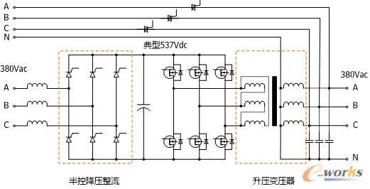 逆变器输出电压不能做到380v;而且工频机逆变器是全桥电路,输出为三相