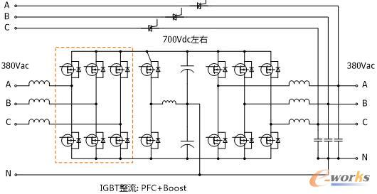 而这种整流逆变电路都工作在高频(几khz以上)且没有输出变压器的ups就