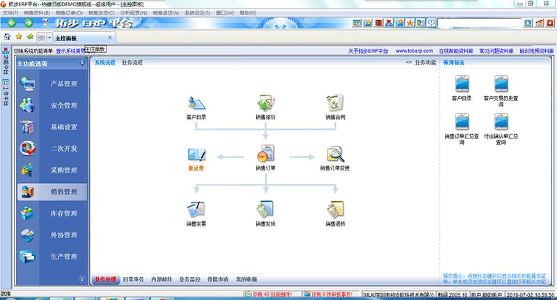 拓步ERP系统简易图形导航主控面板