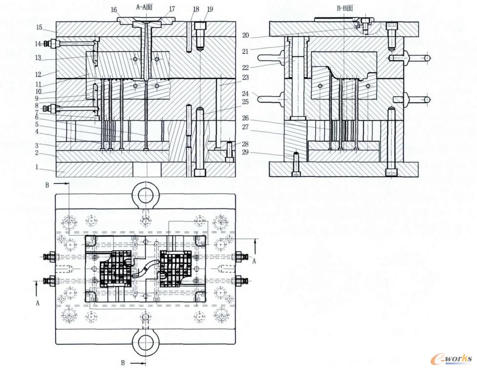 图6 面壳注塑模具结构